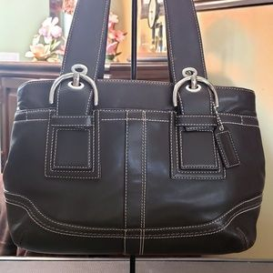 COACH SOHO BROWN LEATHER BUCKLE TOTE CARRYALL BAG